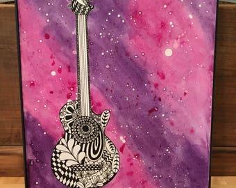 Zen Guitar original watercolor and ink