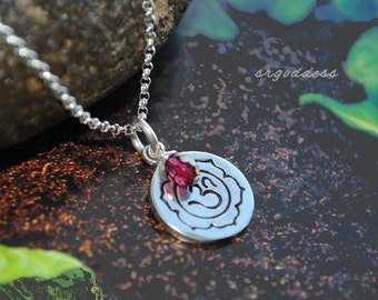 OM LOTUS all sterling silver with garnet drop necklace length choice by srgoddess