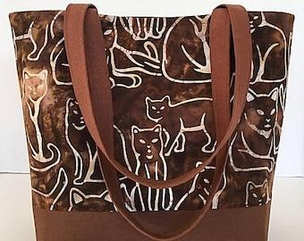 MOTHERS DAY SALE Fabric tote, Large handbag, bags and purses, tote bag, cat lovers, brown batik, market bag, purse, gift for women, Dee's de