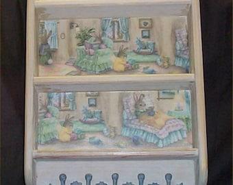 Nursery Wood Wall Shelf Hooks Baby Rabbit Decoration Destressed Decor