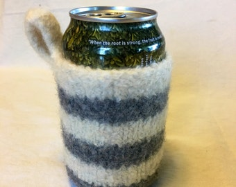 Felted Can Cozy in Gray and White