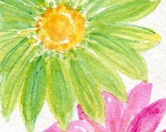 ACEO  Pink, green Gerber Daisies Original Painting  Art Card