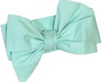 Mint Headwrap, Girls Headwrap, Baby Girl Headwrap, Head Wrap, Girls Headband, Big Bow Headwrap - SOLID MINT GREEN