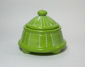 Ceramic Salt Jar - Stash Jar - Sugar Jar - Apple Green and White