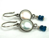 Coin Pearl, Apatite, Sterling Silver Earrings