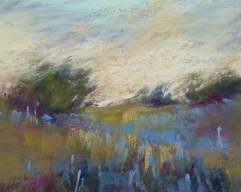 ICELAND Art  Landscape with Lupines Original Pastel Painting Karen Margulis