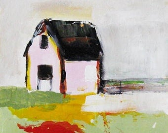The Pink House,  original painting, acrylic on paper