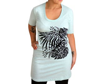 FITTED XL -Sea Foam Mint Heather Short Sleeve Tee Dress with Tropical Screenprint -