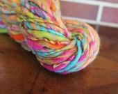 Handspun yarn, super bulky, Merino wool, silk and sparkle, 5.3oz - fruit cocktail