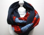 Ankara snood scarf, Infinity scarf, Circle scarf, Hooded scarf, Red Ankara Scarf, Afrocentric scarf, Fleece Scarf, African print scarf