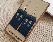 Police Box Earrings handmade wood earrings handmade jewelry the doctor DR blue box police box who doctor