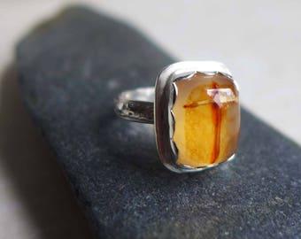 Cross Agate Sterling Silver Ring, Jerusalem Stone Silver Ring, Religious Christian Gemstone Cross Ring, Honey Agate Gemstone Ring