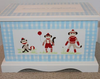 Baby Keepsake Box Baby Keepsake Chest Baby Memory Box Sock Monkey blue gingham hand painted personalized baby gift