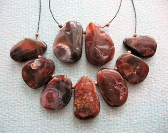 Fire Brandy Agate Briolette Bead Set - 9 pieces - 13 to 18mm in length