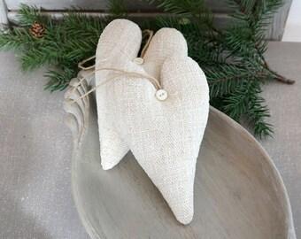 Vintage Grain Sack Lavender Sachet Heart, French Country Decor