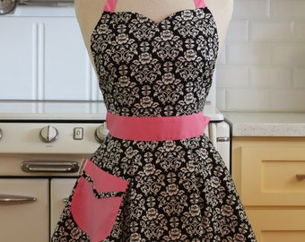 The BELLA Vintage Inspired Black and White Floral Damask with Pink Full Apron