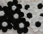 Single Layer Crochet Flower Applique Embellishment Trim - BLACK/WHITE - 10 Pcs