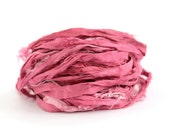 Handdyed recycled sari silk ribbon, 10metres cut length pack in Fuchsia pink, textile arts, mixed media trim uk seller