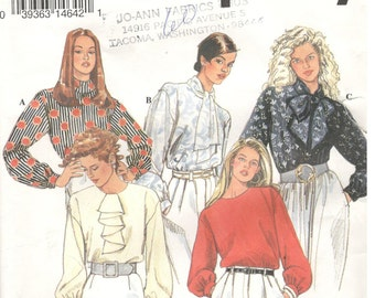 Simplicity 8674 Size 18, 20, 22, 24 Plus size women's pattern: Long sleeve blouse pattern, pullover, neckline variations, tie, ruffle, round