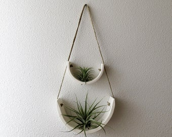 2 Tier Hanging Air Plant Holder - White Earthenware