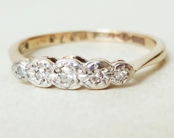 Art Deco Diamond Eternity Ring, Vintage 9k Gold, Platinum and Diamond Engagement Ring, Approx Size 5.75