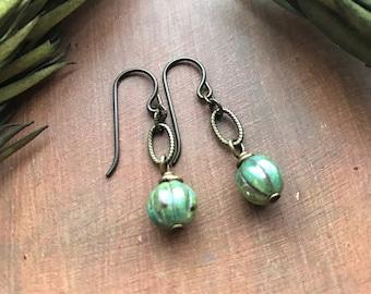 Earthy Bohemian Earrings - Rustic Czech Glass Stone Picasso Bead in Antique Brass by Vintage Earth