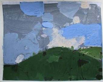 Woodlot Hill, May 23, Original Spring Landscape Collage Painting on Paper, Stooshinoff