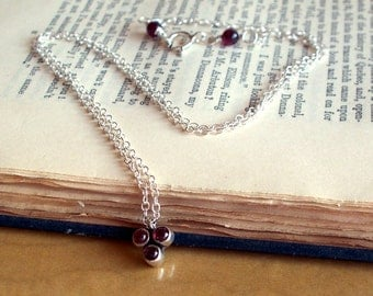 Raspberry Garnet And Sterling Silver Necklace