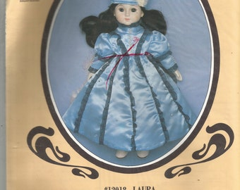 """Laura Dress and Hat Pattern for 18-20"""" Porcelain Doll Pattern 12018"""
