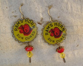 Ad Men - Vintage Ram's Horn Sun Cured Tobacco Tin Advertising Tag Earrings - Upcycled Repurposed Jewelry - 10th Anniversary Gift
