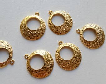 Vintage textured gold plated hoop charms