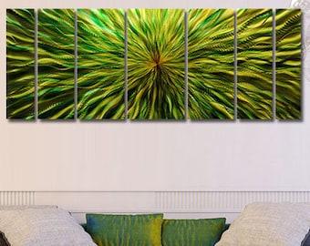 Large Green Modern Metal Wall Art, Abstract Metal Wall Painting Sculpture, Contemporary Home & Office Decor - Green Vortex by Jon Allen