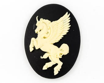 30mm x 40mm Ivory and Black Winged Unicorn Cameo #FPB113