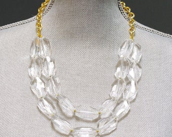 crystal statement necklace . gold statement necklace . chunky crystal necklace . classic layered necklace . double strand necklace