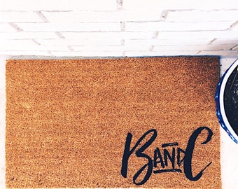 YOUR NEW Custom Initials  - Natural CoCo Fiber Modern Tagged Outdoor Welcome doormat