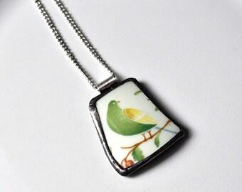 Broken China Jewelry Pendant - Green and Yellow Bird