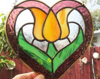 Tulip, in Heart, 7 x 7 inches, of Yellow Swirl, Green, Mauve & Clear Stained Glass, Suncatcher