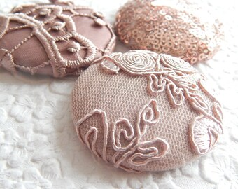 3 peach lace sequin embroidered fabric buttons, 1 7/8 inches, 1.9 inches, 4.7 cm, 48.26 mm, size 75 buttons