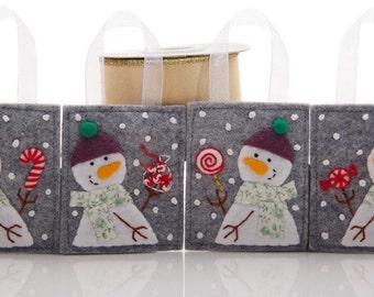 Christmas Ornaments, Wool Felt Snowmen, Handmade Christmas Decorations, Felt Ornaments, Christmas Candy Collection, Peppermint Candy Cane