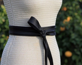 Long + Skinny Leather Obi style Wrap Belt - XS S M L XL - 2 inch wide bespoke leather sash - brown, black, navy, camel, taupe