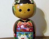 Vintage Japanese Kokeshi Doll Girl Large Bobble Head Nodders