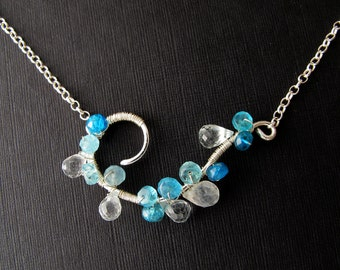 cloud in the sky - micro-cut moonstone and blue apatite necklace necklace