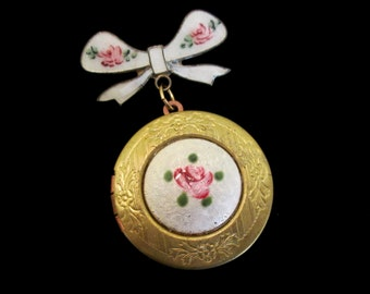 Enamel Rose Bridal Bouquet Locket - Vintage