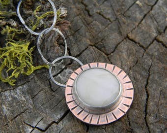 Smooth White Quartz Stone Necklace - copper and sterling silver - oxidized and rustic.