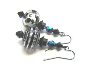 Hollow Lampwork Glass Earrings. Hollow Bead Black Earrings. Stripes and Dots Earrings. OOAK.