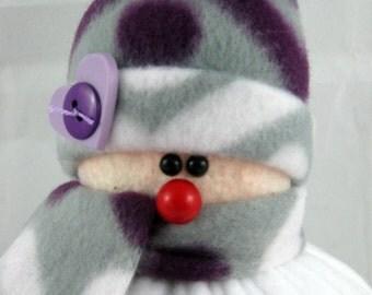 Handmade Stuffed Snowman Decoration, Christmas Holiday Decor, Snowman Christmas Ornament, Winter Decor, Little Bit in Purple, White Fleece