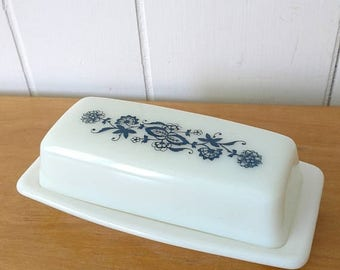 NEW ROOF SALE vintage old town blue Pyrex butter dish