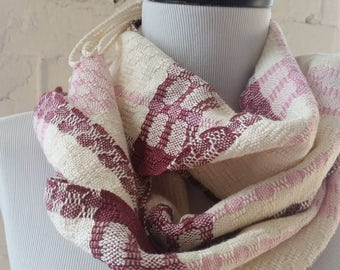 Lightweight Scarf Cotton Tencel in Rose Cream Burgundy Handwoven Sustainable