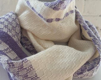 Lightweight Scarf  Lilac Cream Purple Handwoven Sustainable Cotton Tencel