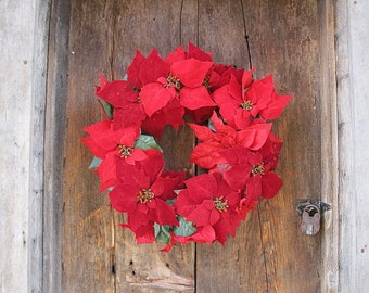 RED POINSETTIA wreath  for Christmas